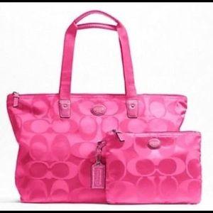 Coach signature pink nylon packable weekender bag